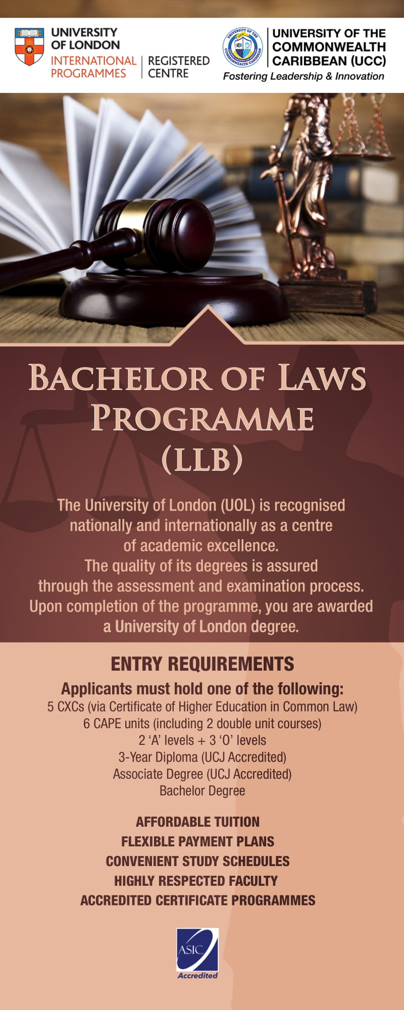 Click for the University of London LLB at UCC Fact Sheet