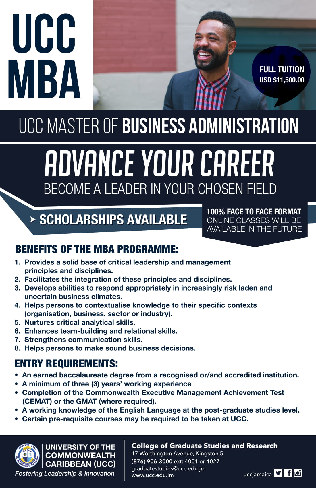 UCC Master of Business Administration Flyer